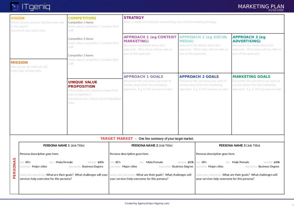 One Page Marketing Plan Free Template