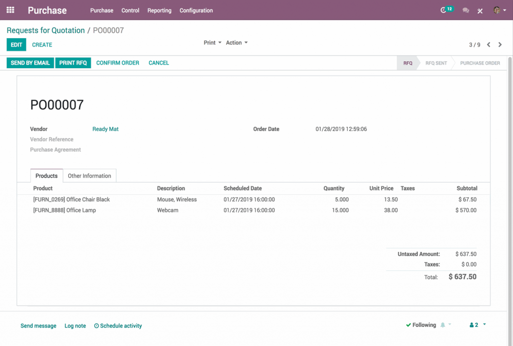 Odoo screen from our in depth review of Odoo Open Source ERP.